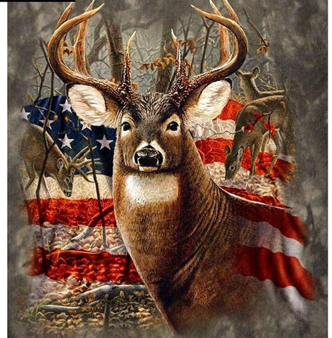 Image of Flag with Deer Diamond Painting Kit - DAZZLE CRAFTER
