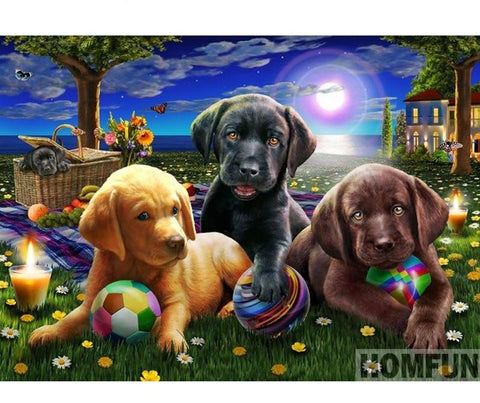 Image of Puppies Playing Ball Diamond Painting - DAZZLE CRAFTER