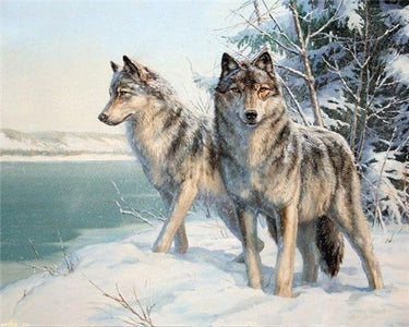 WOLVES IN THE SNOW SERIES Diamond Painting Kit - DAZZLE CRAFTER