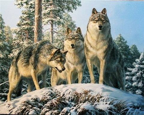 Image of WOLVES IN THE SNOW SERIES Diamond Painting Kit - DAZZLE CRAFTER