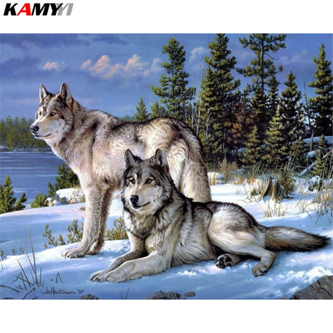 Image of White Wolf Pair Diamond Painting Kit - DAZZLE CRAFTER