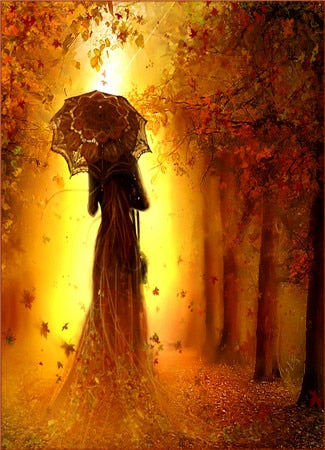 Image of LADY IN AUTUMN Diamond Painting Kit - DAZZLE CRAFTER