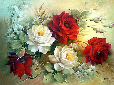 WHITE & RED ROSES Diamond Painting Kit - DAZZLE CRAFTER