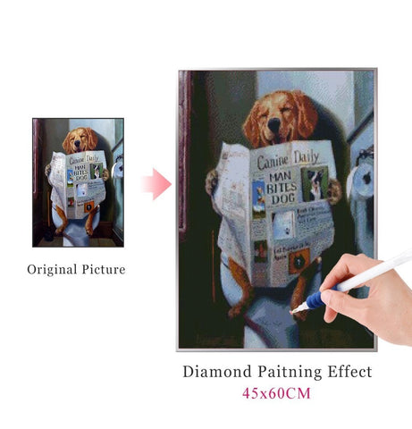 Image of DOGGY IN THE POTTY Diamond Painting Kit - DAZZLE CRAFTER