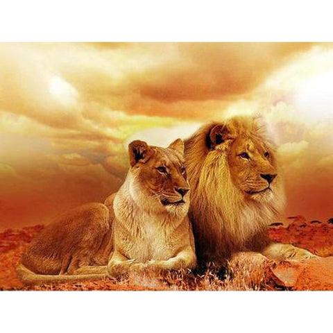 Image of THE LION COUPLE Diamond Painting Kit