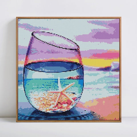 GLASS WITH STARFISH PURPLE SKY Diamond Painting Kit - DAZZLE CRAFTER