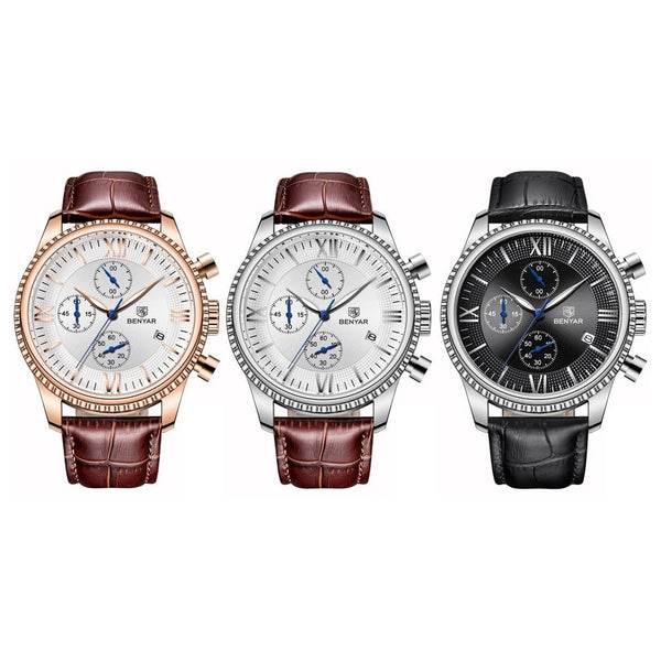 Men Chronograph Quartz Wristwatches 43mm