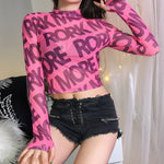 Women Letter Print Pink Mesh High Neck Long Sleeve Crop Top
