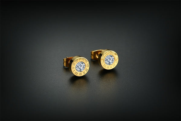 Golden Roman Numeral CZ Zircon Stud Earrings Stainless Steel Simple Stylish