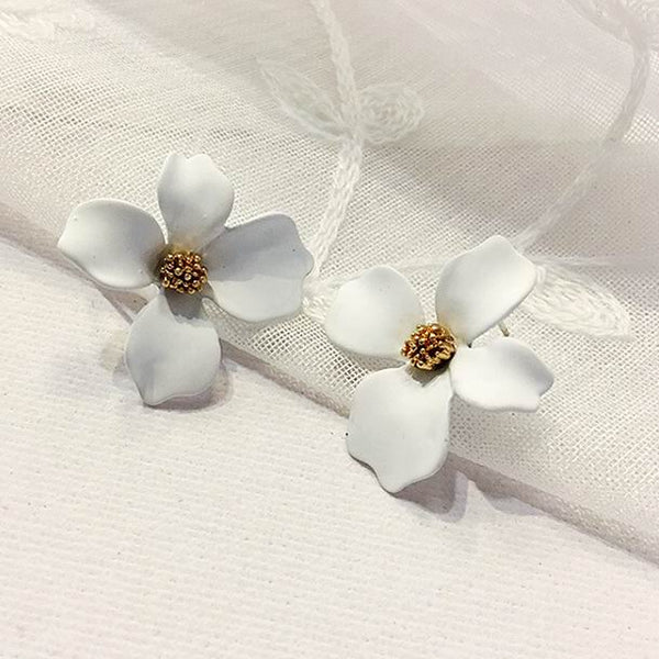 Korean Style Spray Paint Big Flower Stud Earrings