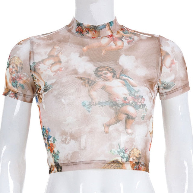 Women High Neck Mesh Angel Print Crop Top