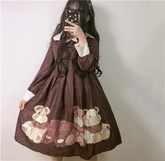 Robe lolita one piece marron Lolita Harajuku