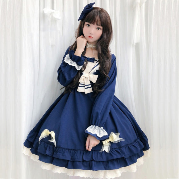 Robe lolita one piece sailor bleu Lolita Harajuku
