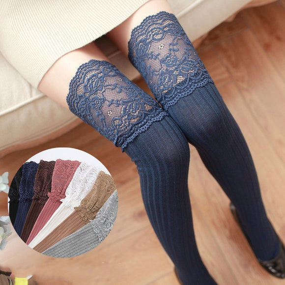 Collants Lolita Classic bleu à dentelle