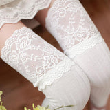 Collants Lolita Classic blanc à dentelle