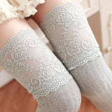 Collants Lolita Classic gris à dentelle
