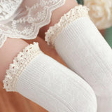Collants Lolita Overknee blanc à dentelle