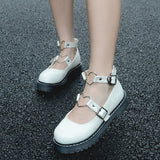 Chaussure lolita blanche compensée boucle coeur Lolita Harajuku