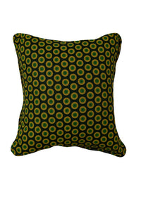 Concentric Green and Yellow Circles on Deep Green Canvas