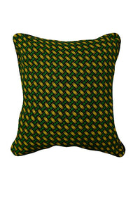 Green and Yellow pattern on Black Canvas