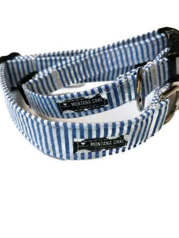 Blue Seersucker Pet Collar