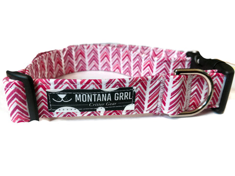 Pink chevron pet collar and leash