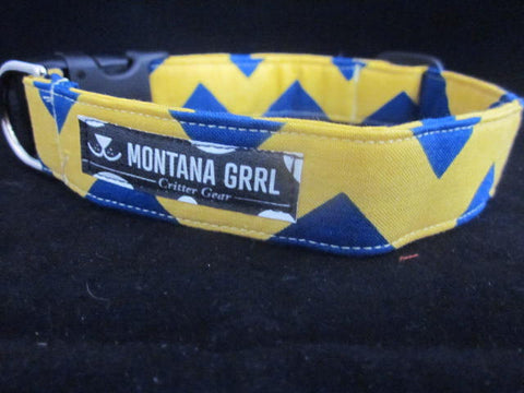 The Bobcat - Yellow and Blue Chevron Dog Collar