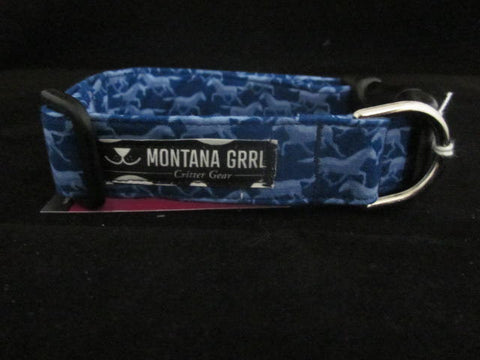 Blue Horses Dog Collar