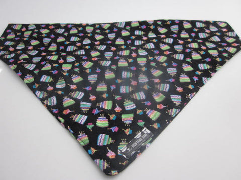 Happy Birthday Cake Dog Bandana In Black