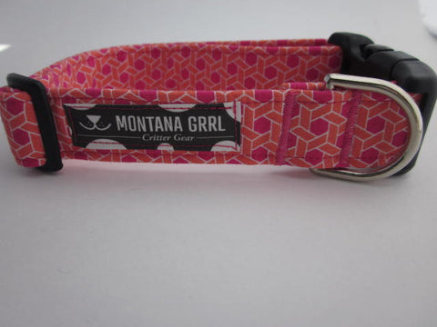 Hexagon in Pink and Orange Pet Collar