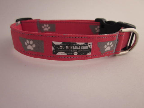 Paws prints on Montana pet collar in salmon pink
