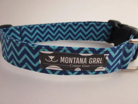 Blue Lover Chevron Dog Collar