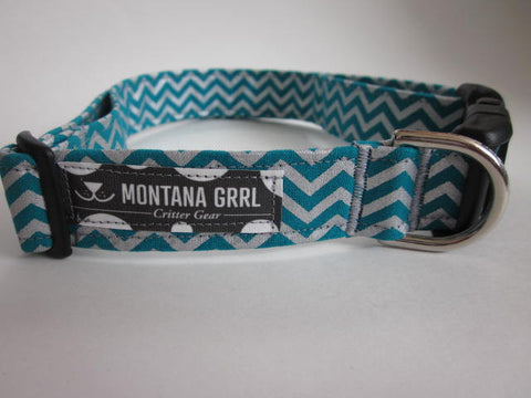 Teal and Silver Chevron Pet Collar