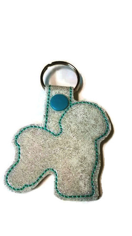 Bichon Frise Outline Key Fob