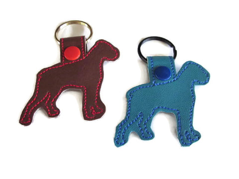 Boxer Dog Outline Key Fob