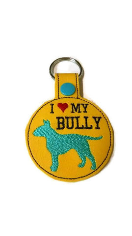 I Love My Bully Key Fob