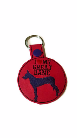 I Love My Great Dane Key Fob