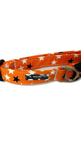 Orange with Glow in the Dark Stars Pet Collar