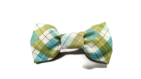 Green Blue Plaid Bowtie