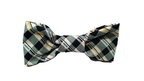 Blue School Plaid Bowtie