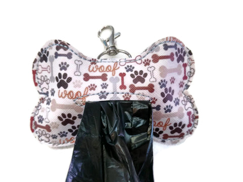Paw prints dog poop bag holder