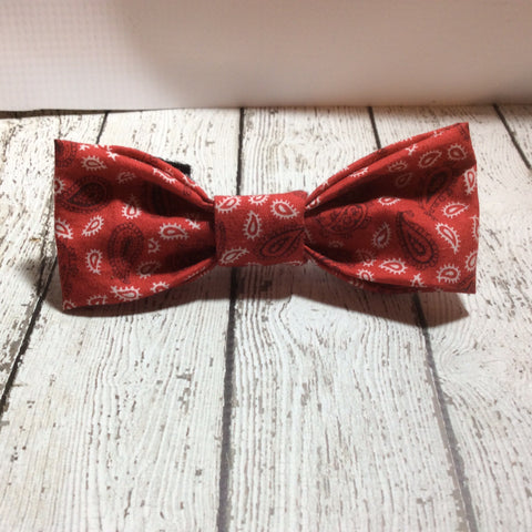 Red Paisley Dog Bow Tie