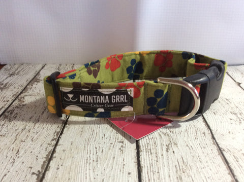 Olive Green with Paws Dog Collar