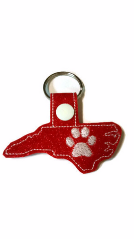 North Carolina Outline with Paw Print Key Fob