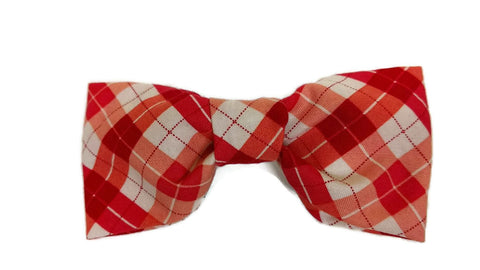 Pink Red Plaid Bow tie