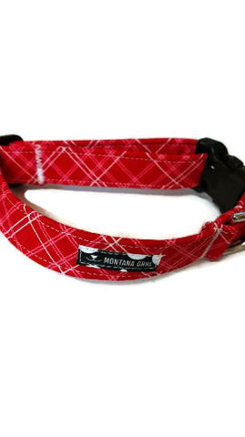 Red Pink Plaid Pet Collar