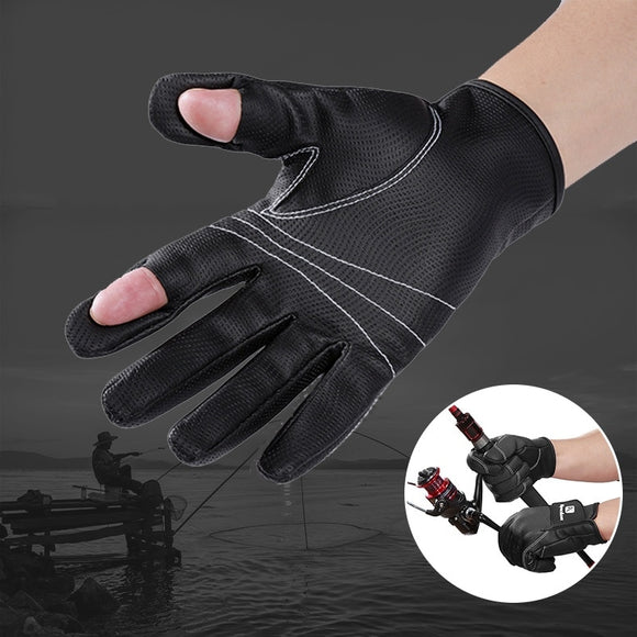 Outdoor Non-slip Flexible Two Fingers Cut Fishing gloves Practical Fishing Finger Protective Gloves Waterproof Sports Gloves