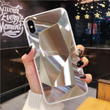 Diamond Texture Mirror Phone Case For iPhone