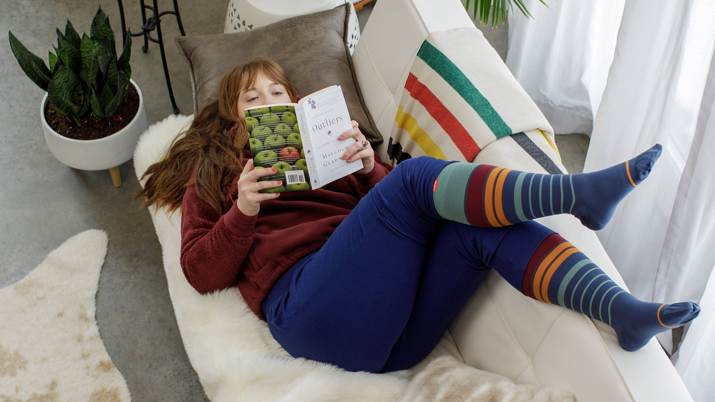 Heathered Collection in Navy Compression Socks