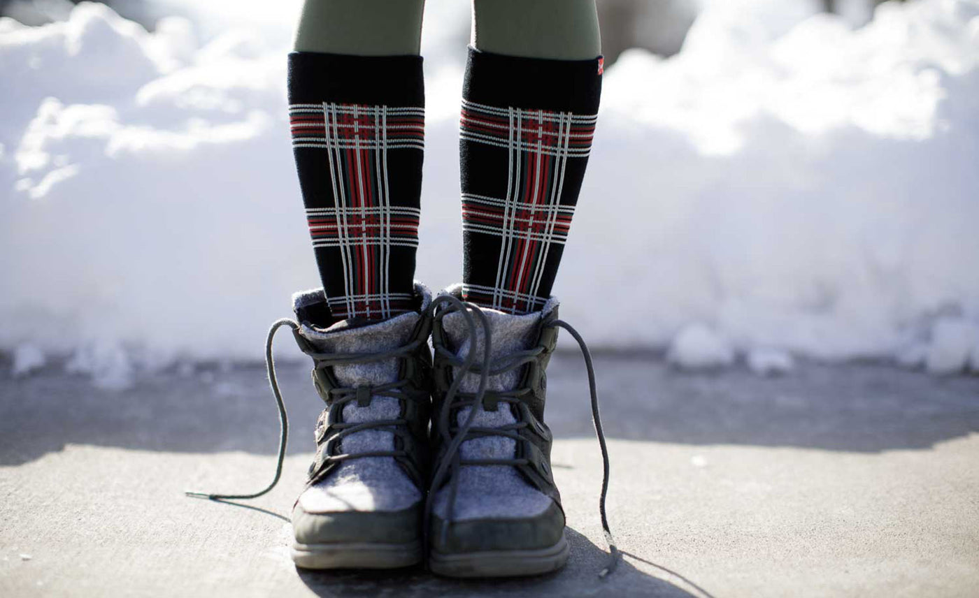 Jolly Plaid compression socks lifestyle image